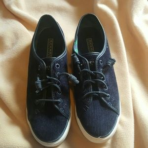 Sperry Top-Sider Shoes - Women's size 8 navy blue corduroy Sperrys