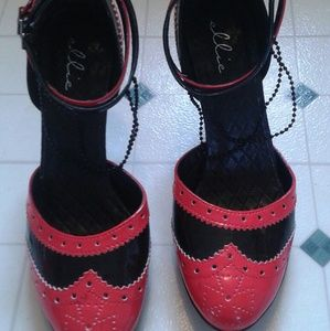 Ellie Shoes - Red and black heels never worn