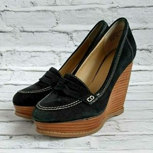 Black suede loafer wedges
