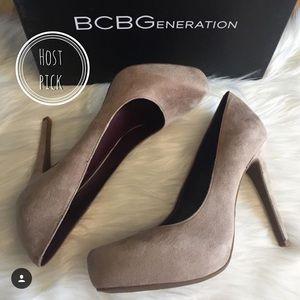 BCBGeneration Shoes - BCBG Camel Suede Platform Heels