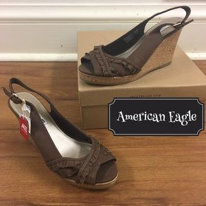American Eagle by Payless Shoes - AE Brown Wedge Sling Backs