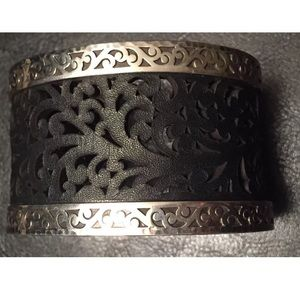 Lois Hill Jewelry - Sterling Silver black leather Cuff bracelet