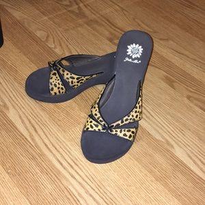 Yellow Box Shoes - Yellow Box leopard print sandals