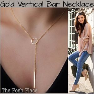 Delicate & Dainty Gold Vertical Bar Necklace