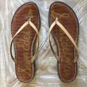 Sam Edelman latent leather tan flip flops.
