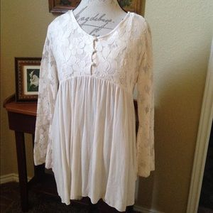 Indigo Blue Tops - INDIGO SOUL LACE YOKE AND BELL SLEEVE TUNIC NWT