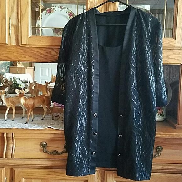 Tops - BLACK DRESSY 2 BUT 1 SPARKLING BLOUSE