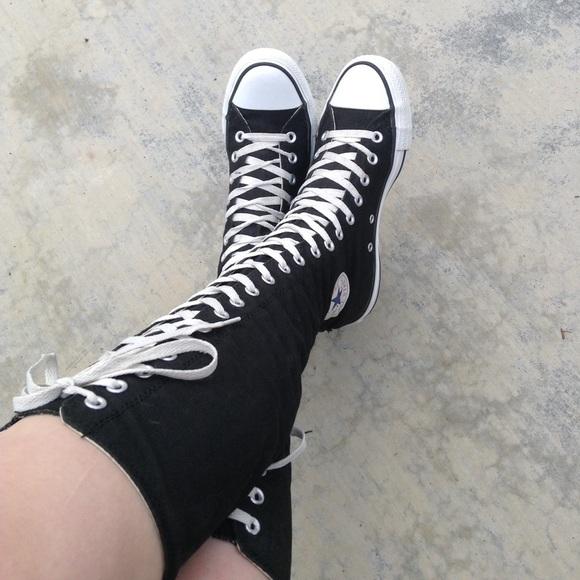 925f7d7bc6d Converse Shoes - Black   White Tall Converse High-Tops Boots