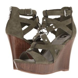 G by Guess Shoes - G by Guess olive green wedges