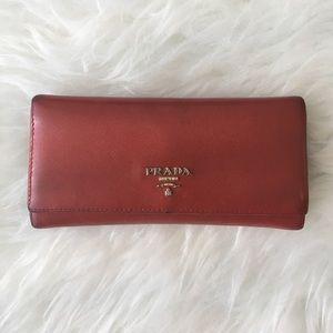 Prada Handbags - Prada Fuoco Red Saffiano Continental Wallet