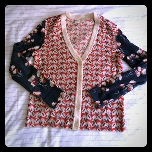 Tory Burch Sweaters - Tory Burch Floral Print Cardigan Sweater S