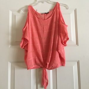 Foreign Exchange Tops - Foreign Exchange Cold Shoulder Coral top