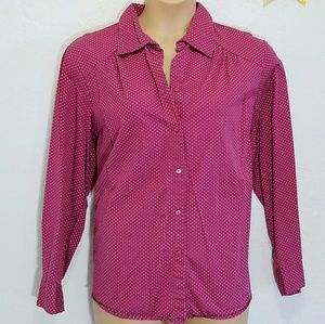 Tommy Hilfiger Tops - Tommy Hilfiger Fusia Polka Dot Button Down sz 18