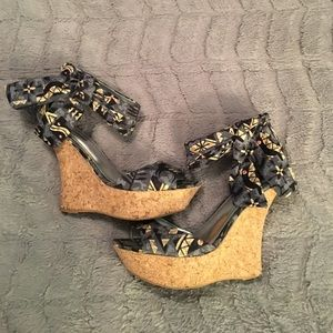Dollhouse Shoes - Dollhouse, Black, Tan & Gray Pattern Cork Wedges