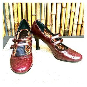 kenzie Shoes - KENZIE  Burgundy Wine Mary Jane Heels! Sz 9
