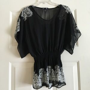 INC International Concepts Tops - INC Black blouse with floral design