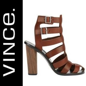 VINCE. BLOCK SANDAL COGNAC BROWN