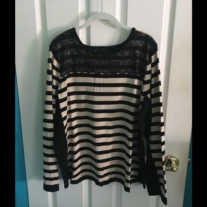 Lane Bryant Sweaters - Tan and black striped, lace sweater