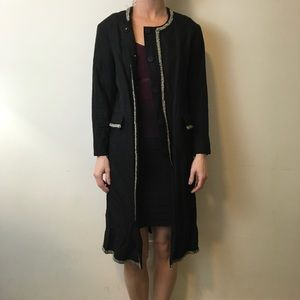 Gryphon Jackets & Blazers - Gryphon Black Beaded Embellished Long Dress Coat