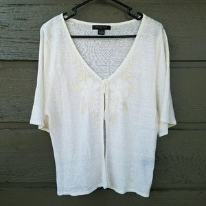 august silk Sweaters - August Silk White Cream Embroidered Cardigan
