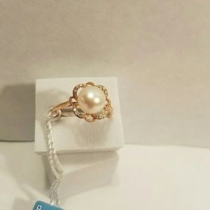 Honora Jewelry - 10KT Rose Gold FW Cultured Pearl Ring By Honora