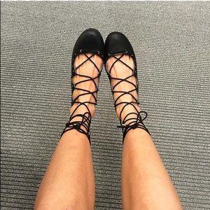 Black Lace-Up Ankle Gladiator Ballet Flats
