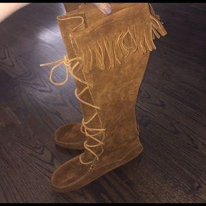 Minnetonka Shoes - Knee high suede fringe boots