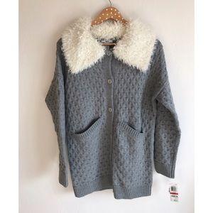 Bar III Sweaters - NWT Bar III Fur Lined Hooded Sweater