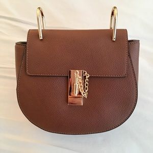 GlamVault Handbags - Saddle Brown Pebble Vegan Leather Crossbody