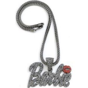 Barbie Jewelry - Iced Out Bling Silver Statement Barbie Necklace
