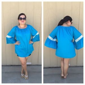 Indian Tropical Fashion Tops - 🆕LISTING Aqua Flowy Too with Lace