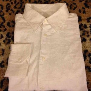Bugatchi Other - Bugatchi Solid White Embroidered Shirt L