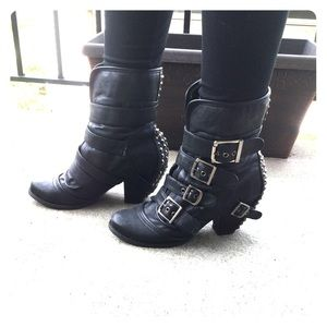 Not Rated Shoes - Not Rated Booties w/ Buckles and Spiked Studs