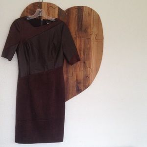 Venus faux leather and suede dress