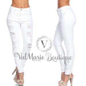 ValMarie Boutique Denim - 💚RESTOCKED!!!- STRETCHY WHITE DESTROYED DENIM