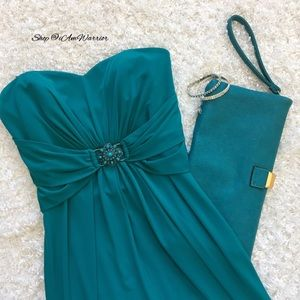 Laundry by Shelli Segal Dresses & Skirts - Laundry teal strapless gathered waist dress