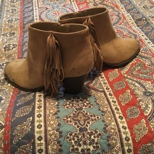 Tan suede peep toe fringe booties. 8.5