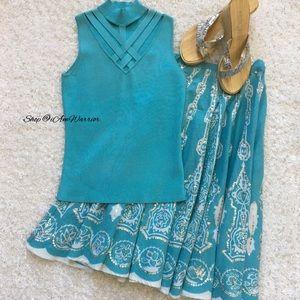 Cache Tops - Cache Turquoise silk spandex lattice top