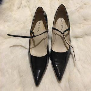 Wild Diva Patent Leather Black Heels 10
