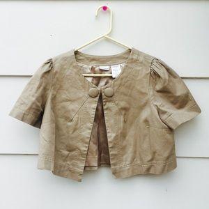 No Boundaries Jackets & Blazers - No Boundaries Metallic Cropped Blazer Jacket Khaki