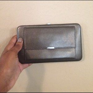 Gunmetal gray snakeskin Clutch wallet