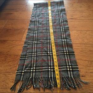 Burberry Accessories - Burberry cashmere nova plaid gray fringe scarf