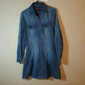 Vintage Dresses & Skirts - Blue Denim Stretch Button Long Sleeve Dress Small