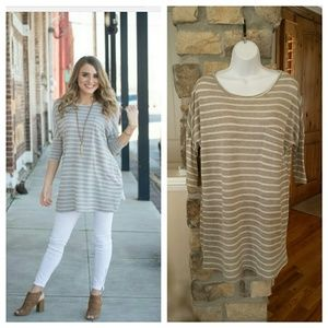 Infinity Raine Tops - Gray striped dolman tunic with front pocket