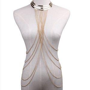 Jewelry - Choker body chain necklace gold beach accessory