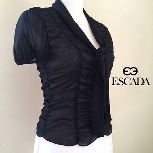 Escada Tops - Escada Sheer Black Silk Ruched Button-Down