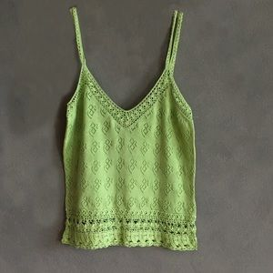 LaRok Tops - LaROK Crochet Crop Top Light Green