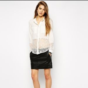 y.a.s Tops - Y.A.S Lace detail button down collar blouse asos