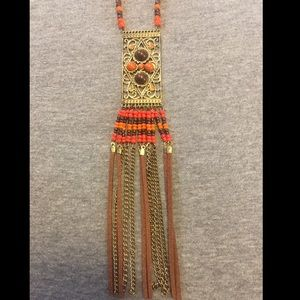 Bohemian Beaded Tassel and Pendant Rope Necklace