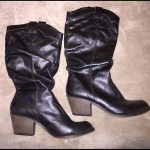 Shoes - Black Crinkle Cowboy Boots